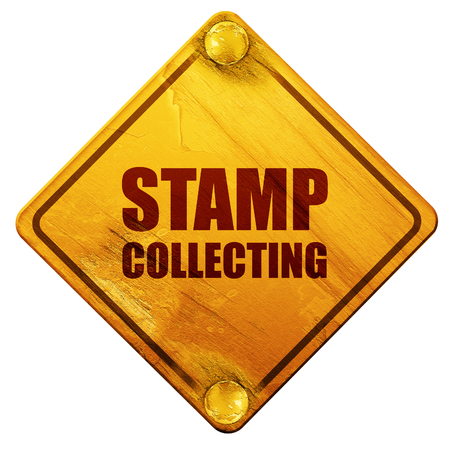 stamp collecting: stamp collecting, 3D rendering, yellow road sign on a white background