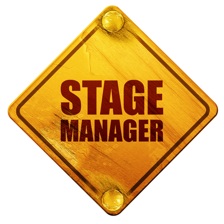 3d manager: stage manager, 3D rendering, yellow road sign on a white background