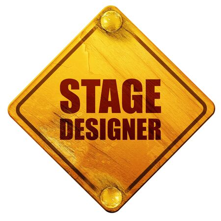 fashion week: stage designer, 3D rendering, yellow road sign on a white background