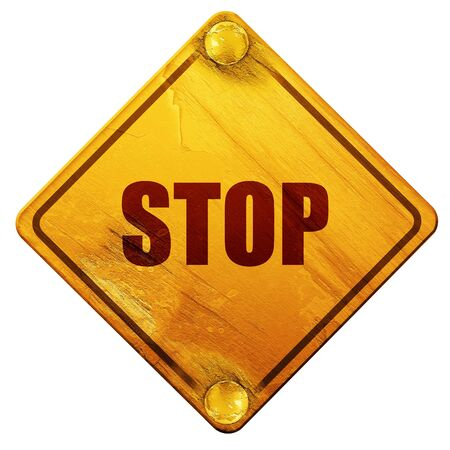 slow down: stop, 3D rendering, yellow road sign on a white background