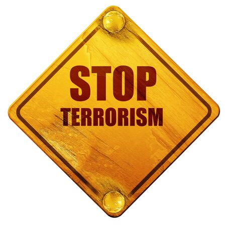 victim war: stop terrorism, 3D rendering, yellow road sign on a white background