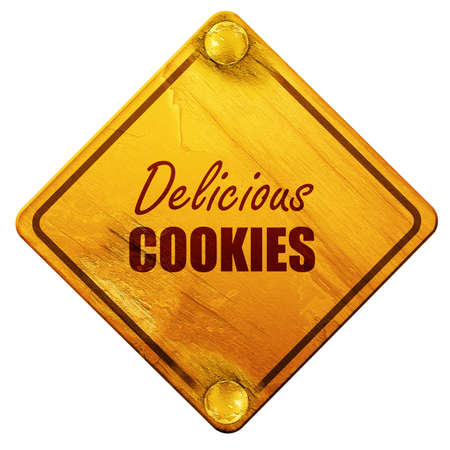 cooky: Delicious cookies sign with some soft smooth lines, 3D rendering, yellow road sign on a white background Stock Photo