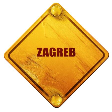 custom letters: zagreb, 3D rendering, yellow road sign on a white background Stock Photo