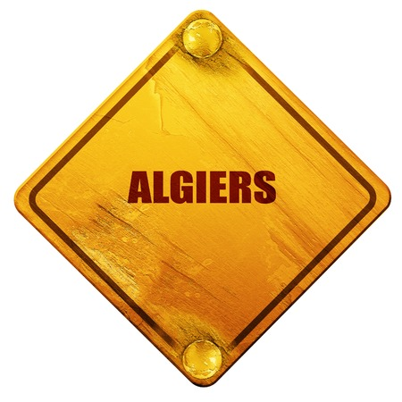 algiers: algiers, 3D rendering, yellow road sign on a white background