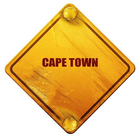 cape town: cape town, 3D rendering, yellow road sign on a white background Stock Photo