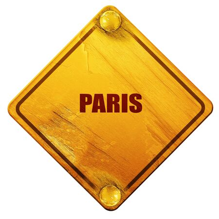 custom letters: paris, 3D rendering, yellow road sign on a white background