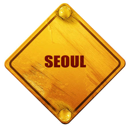 seoul: seoul, 3D rendering, yellow road sign on a white background