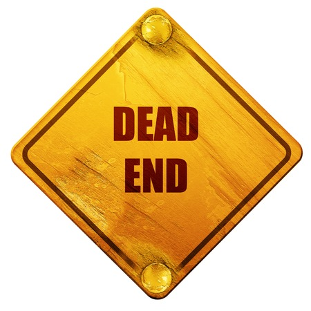 end of the road: dead end sign with yellow and black colors, 3D rendering, yellow road sign on a white background Stock Photo