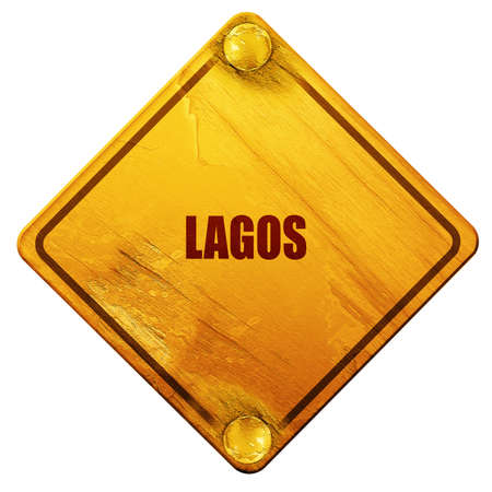 lagos: lagos, 3D rendering, yellow road sign on a white background Stock Photo