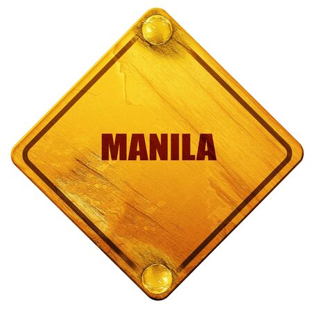 manila: manila, 3D rendering, yellow road sign on a white background