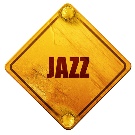 music 3d: jazz music, 3D rendering, yellow road sign on a white background Stock Photo