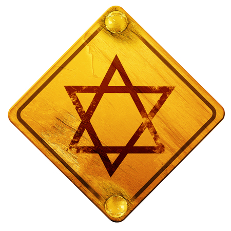 hannukah: Star of david with some soft flowing lines, 3D rendering, yellow road sign on a white background