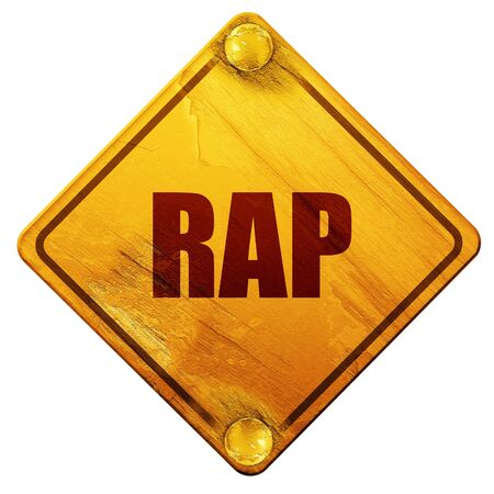 music 3d: rap music, 3D rendering, yellow road sign on a white background