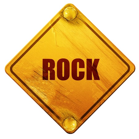 music 3d: rock music, 3D rendering, yellow road sign on a white background Stock Photo