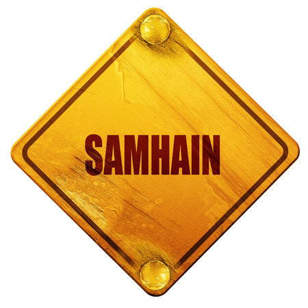 glowing carved: Traditional glowing Samhain Jack-o-Lantern with carved word Samhain on it. Pagan Wiccan Wheel of the Year holiday celebration., 3D rendering, yellow road sign on a white background