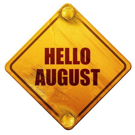 안녕하세요 8 월 3D 렌더링, 흰색 배경에 노란색도 표지판