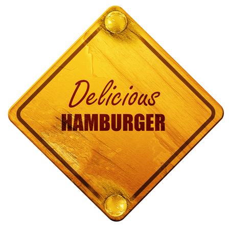 street sign: Delicious hamburger sign with some soft smooth lines, 3D rendering, yellow road sign on a white background