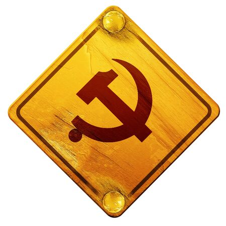 ideology: Communist sign with red and yellow vivid colors, 3D rendering, yellow road sign on a white background