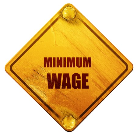 minimum wage: Sweat shop background with some smooth lines, 3D rendering, yellow road sign on a white background