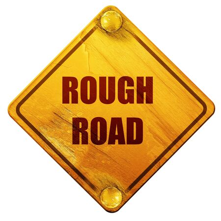 death valley: Rough road sign with some soft glowing highlights, 3D rendering, yellow road sign on a white background Stock Photo