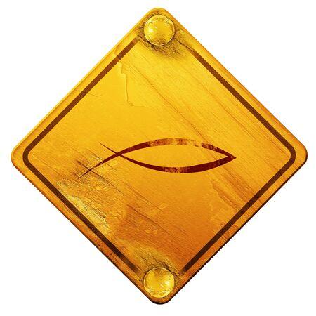 pez cristiano: símbolo cristiano de los pescados con unas líneas suaves suaves, 3D, señal de tráfico amarillo sobre un fondo blanco
