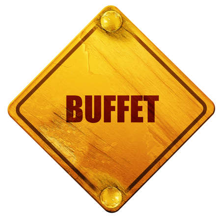 buffet: Buffet sign background  with some smooth lines, 3D rendering, yellow road sign on a white background
