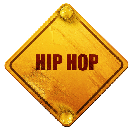 music 3d: hip hop music, 3D rendering, yellow road sign on a white background