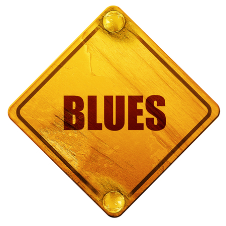 music 3d: blues music, 3D rendering, yellow road sign on a white background