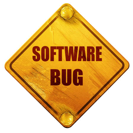 debugging: Software bug background with some soft smooth lines, 3D rendering, yellow road sign on a white background Stock Photo