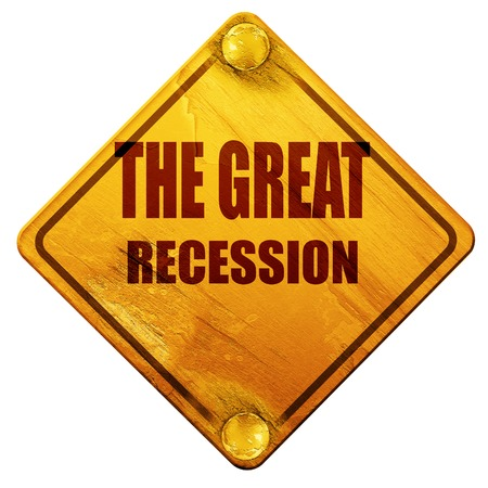 recession: Recession sign background with some smooth lines, 3D rendering, yellow road sign on a white background
