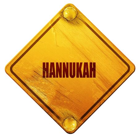 chanukiah: hannukah, 3D rendering, yellow road sign on a white background