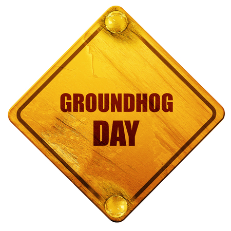 woodchuck: groundhog day, 3D rendering, yellow road sign on a white background