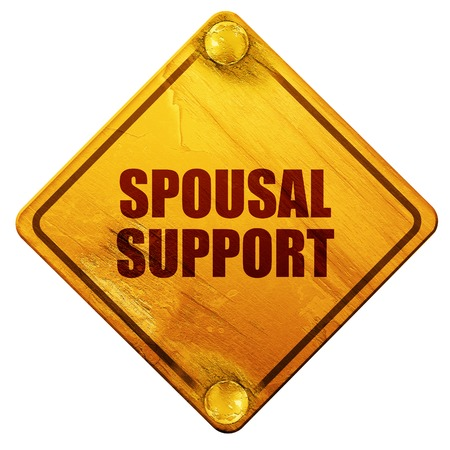 alimony: spousal support, 3D rendering, yellow road sign on a white background