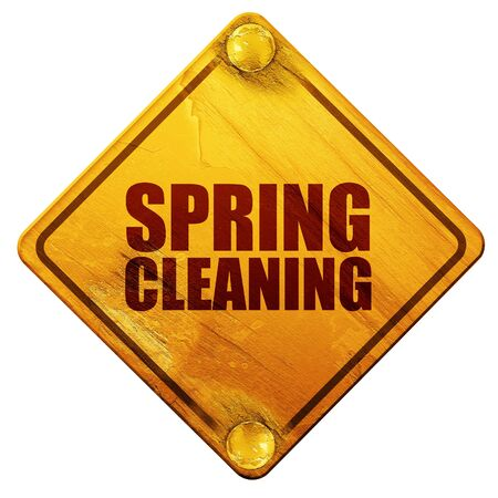 spring cleaning: spring cleaning, 3D rendering, yellow road sign on a white background