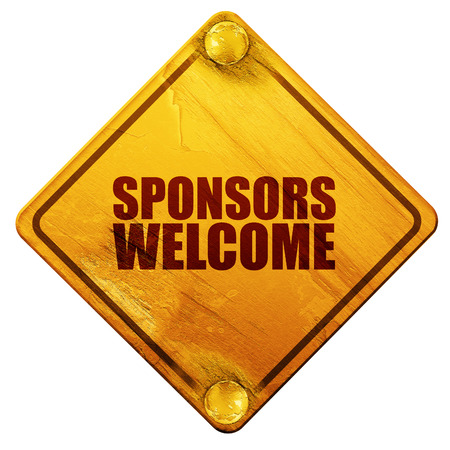 sponsors: sponsors welcome, 3D rendering, yellow road sign on a white background