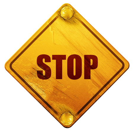stop sign background with some soft smooth lines, 3D rendering, yellow road sign on a white background