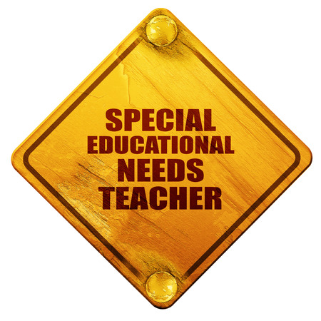 needs: special educational needs teacher, 3D rendering, yellow road sign on a white background