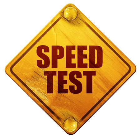 speed test: speed test, 3D rendering, yellow road sign on a white background Stock Photo
