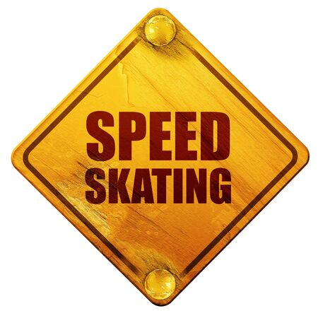 speed skating: speed skating, 3D rendering, yellow road sign on a white background Stock Photo