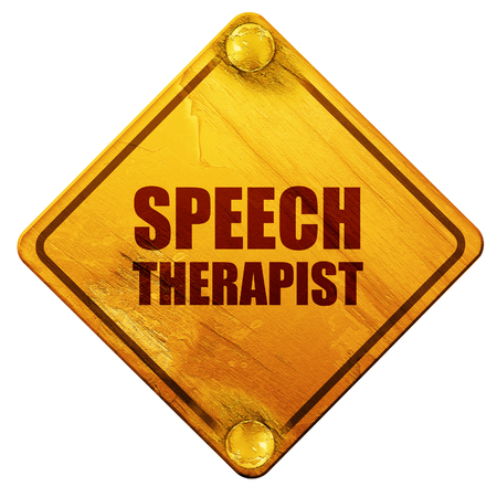 homeschooling: speech therapist, 3D rendering, yellow road sign on a white background Stock Photo