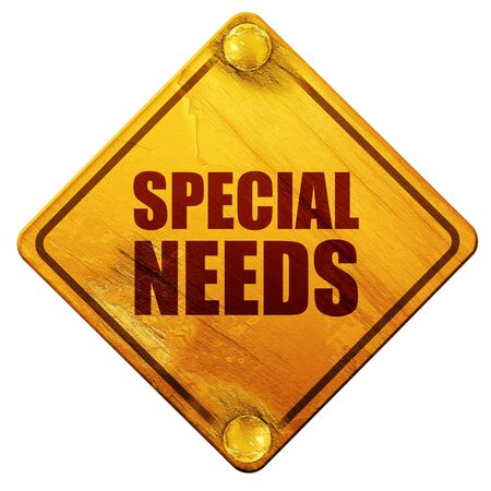 physically: special needs, 3D rendering, yellow road sign on a white background