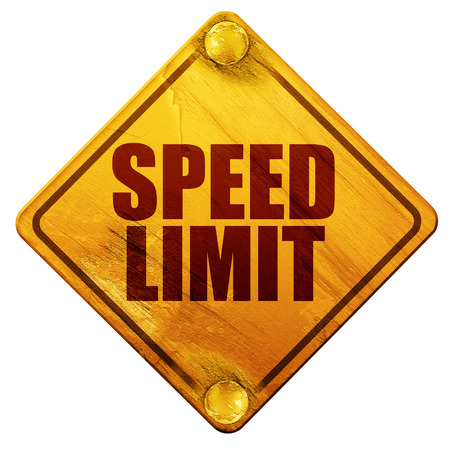 65 70: speed limit, 3D rendering, yellow road sign on a white background Stock Photo