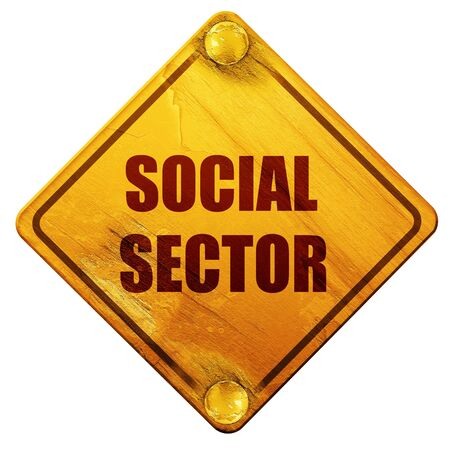 sector: social sector, 3D rendering, yellow road sign on a white background Stock Photo