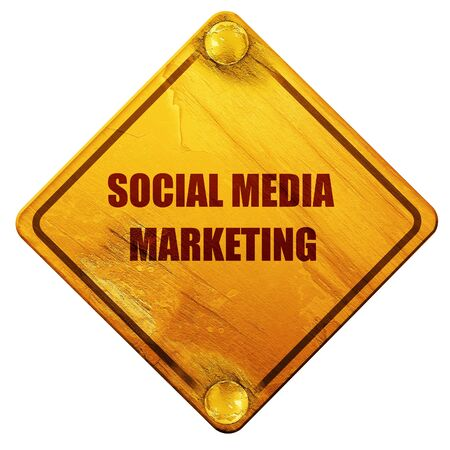 emarketing: social meda marketing, 3D rendering, yellow road sign on a white background Stock Photo