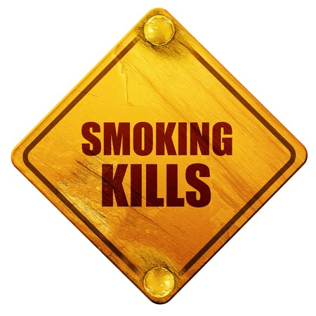 smoking kills, 3D rendering, yellow road sign on a white background Stock Photo