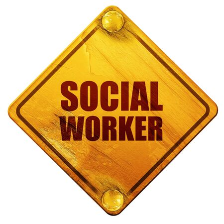 social worker: social worker, 3D rendering, yellow road sign on a white background Stock Photo