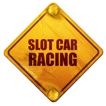 slot car track: slot car racing, 3D rendering, yellow road sign on a white background Stock Photo