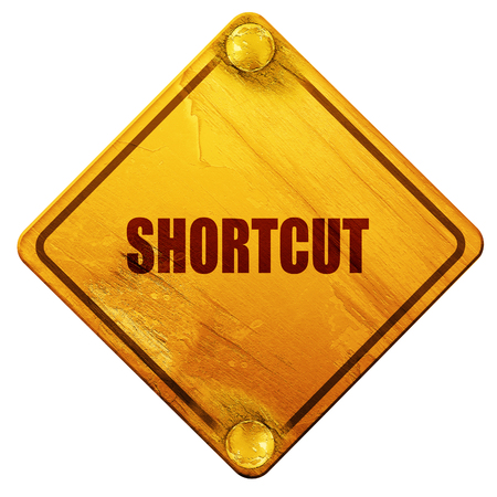 cut short: shortcut, 3D rendering, yellow road sign on a white background