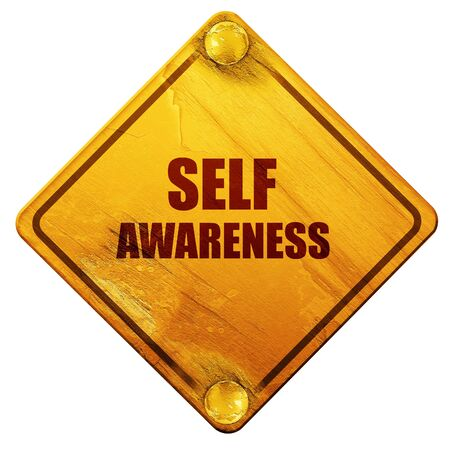self esteem: self awareness, 3D rendering, yellow road sign on a white background Stock Photo