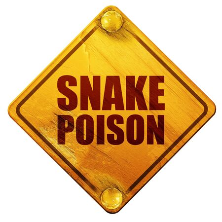 poison sign: snake poison, 3D rendering, yellow road sign on a white background Stock Photo